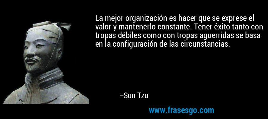 La mejor organización es hacer que se exprese el valor y mantenerlo constante. Tener éxito tanto con tropas débiles como con tropas aguerridas se basa en la configuración de las circunstancias. – Sun Tzu