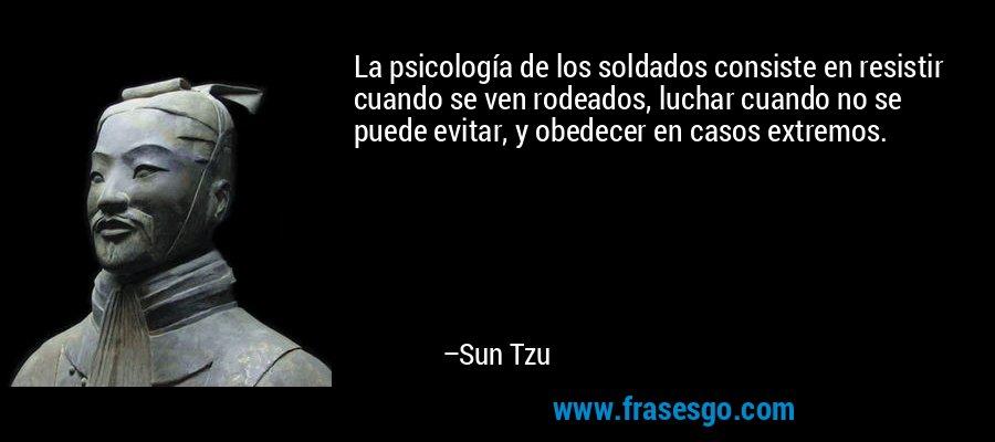 La psicología de los soldados consiste en resistir cuando se ven rodeados, luchar cuando no se puede evitar, y obedecer en casos extremos. – Sun Tzu