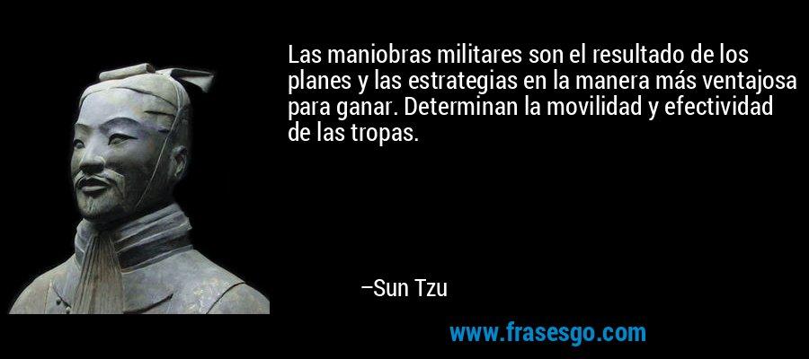 Las maniobras militares son el resultado de los planes y las estrategias en la manera más ventajosa para ganar. Determinan la movilidad y efectividad de las tropas. – Sun Tzu
