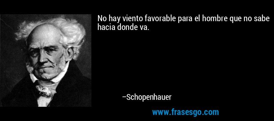 No hay viento favorable para el hombre que no sabe hacia donde va. – Schopenhauer