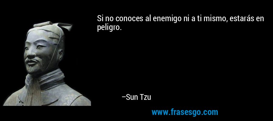 Si no conoces al enemigo ni a ti mismo, estarás en peligro. – Sun Tzu