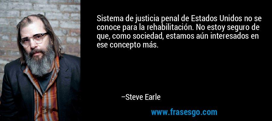 Sistema de justicia penal de Estados Unidos no se conoce para la rehabilitación. No estoy seguro de que, como sociedad, estamos aún interesados en ese concepto más. – Steve Earle
