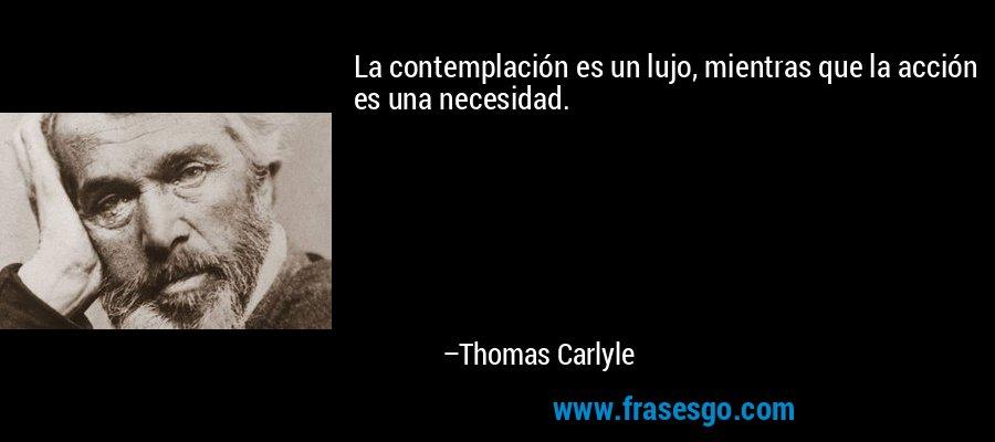 La contemplación es un lujo, mientras que la acción es una necesidad. – Thomas Carlyle
