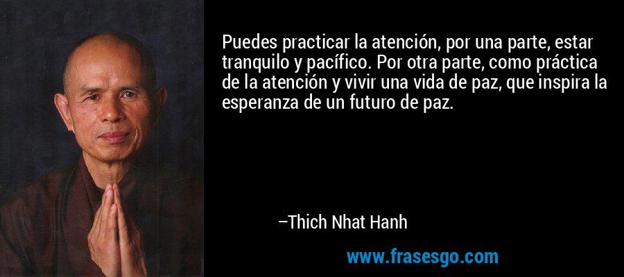 Puedes practicar la atención, por una parte, estar tranquilo y pacífico. Por otra parte, como práctica de la atención y vivir una vida de paz, que inspira la esperanza de un futuro de paz. – Thich Nhat Hanh