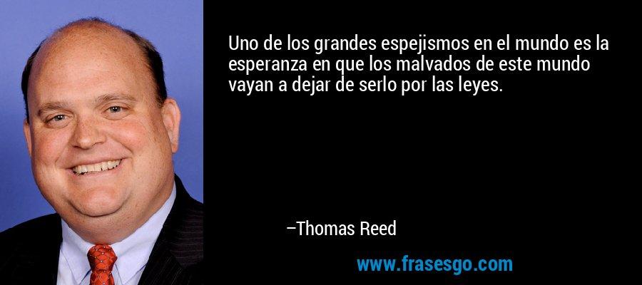 Uno de los grandes espejismos en el mundo es la esperanza en que los malvados de este mundo vayan a dejar de serlo por las leyes. – Thomas Reed