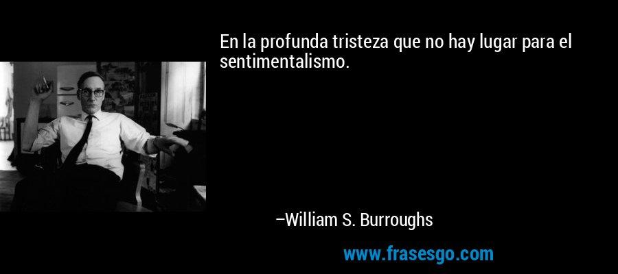 En la profunda tristeza que no hay lugar para el sentimentalismo. – William S. Burroughs