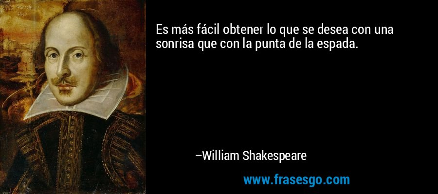 Es más fácil obtener lo que se desea con una sonrisa que con la punta de la espada. – William Shakespeare