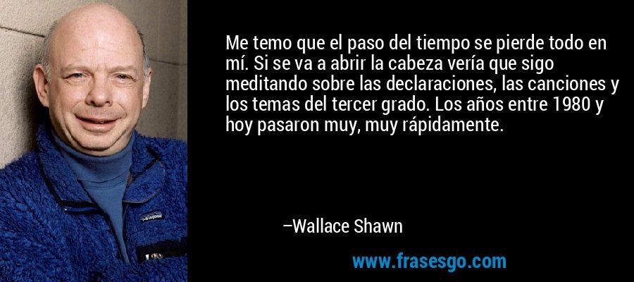 Me temo que el paso del tiempo se pierde todo en mí. Si se va a abrir la cabeza vería que sigo meditando sobre las declaraciones, las canciones y los temas del tercer grado. Los años entre 1980 y hoy pasaron muy, muy rápidamente. – Wallace Shawn